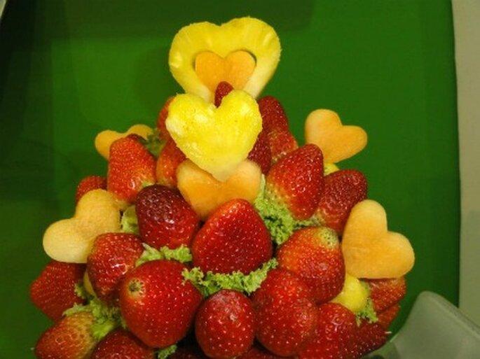 fresas y piña, delicioso pasa bocas para bodas. Foto de Enfrutados