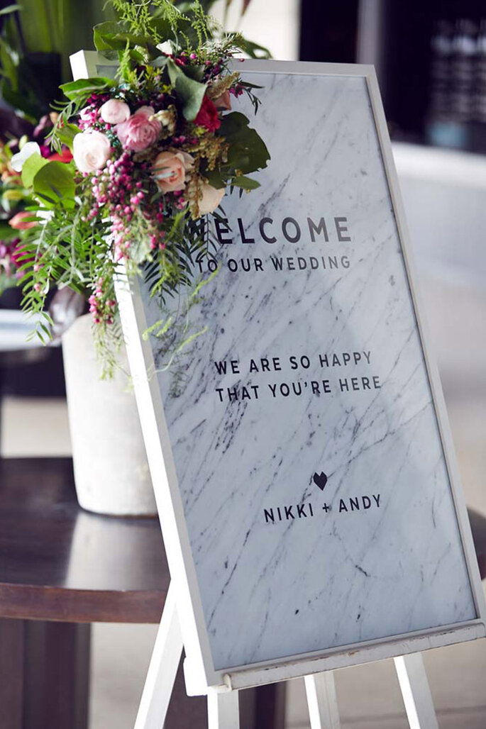 Placa para casamento efeito marble