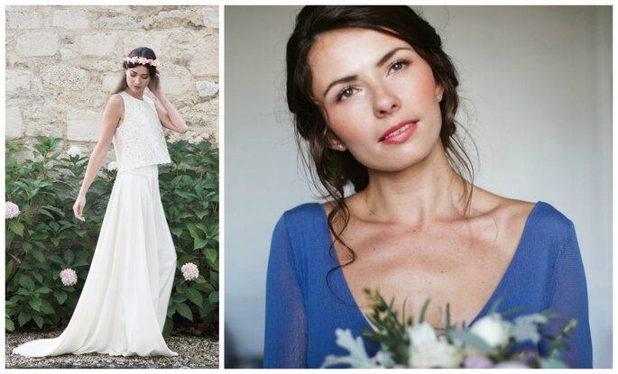 Photo à gauche : Modèle Celeste et Modèle Paloma, Au fil d'Elise / Photo à droite : Maquillage Elodie Struillou