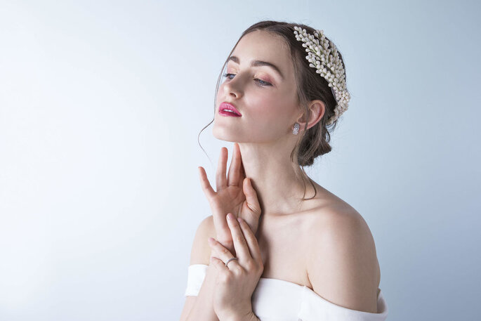 Maquillaje de novia de día con labios rosas por Sandra Bada