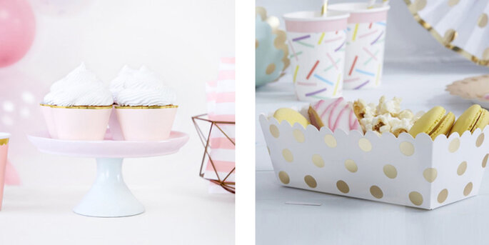 Envoltorio de cupcake rosa y oro 6 piezas