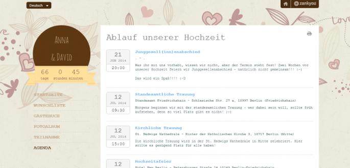 Zankyou Hochzeits -Homepage