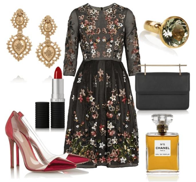 Vestido de Needle & Thread, zapatos de Gianvitto Rossi, aretes de Dolce & Gabbana, bolso de M2 Malletier y perfume de Chanel - Fotos de Net a Porter