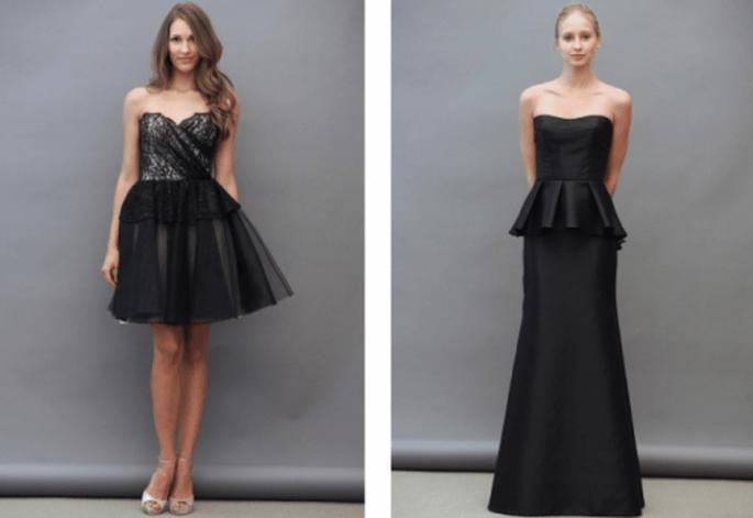 Vestidos para damas de boda en color negro con corte peplum y falda vaporosa - Foto Lazaro