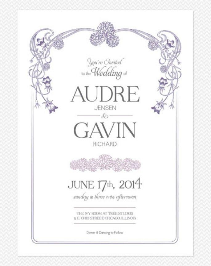 Invitation de mariage en couleur violette. Photo: Love vs. Design