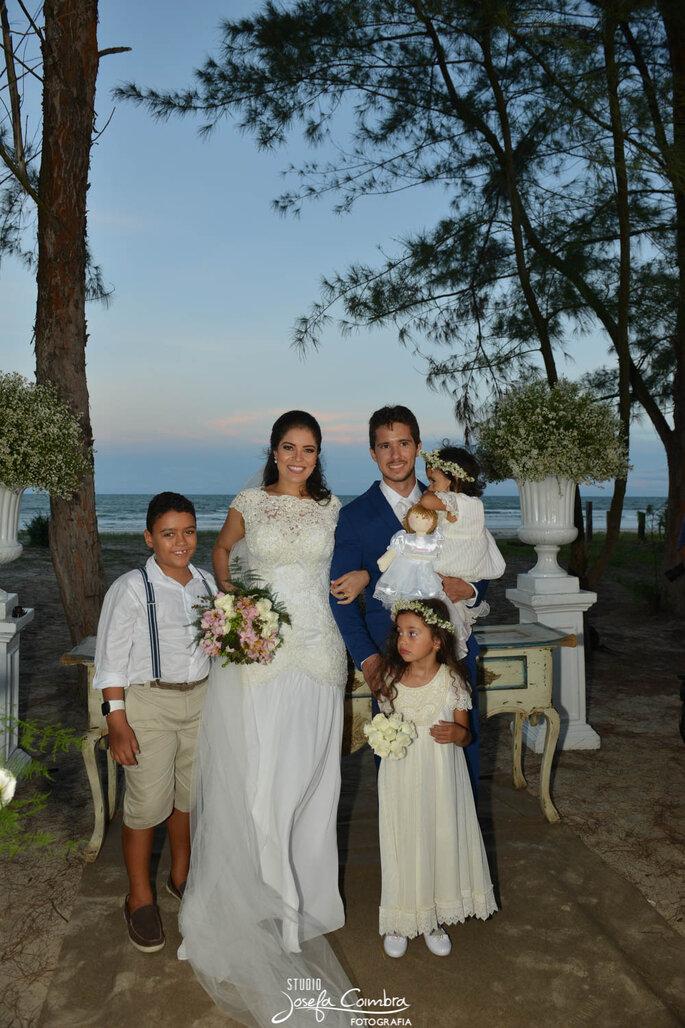 Pajens em casamento na praia