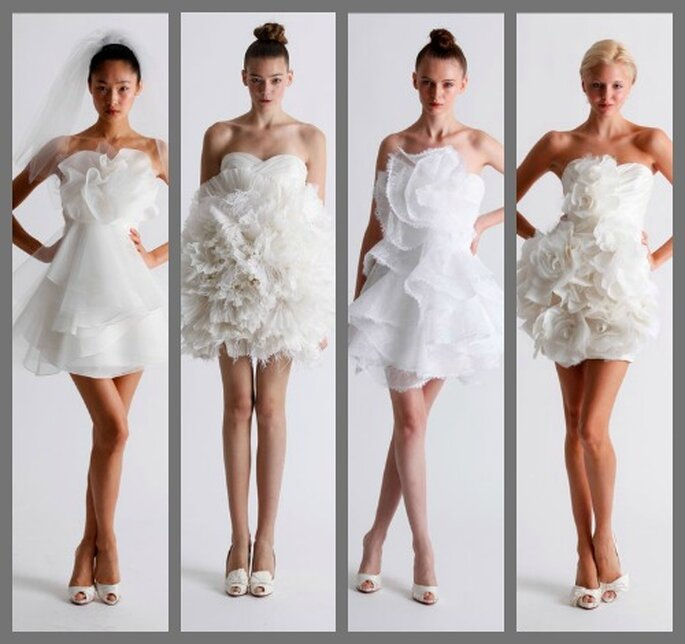 Vestidos de novia cortos con detalles florales, de Marchesa 2011. Foto: Marchesa