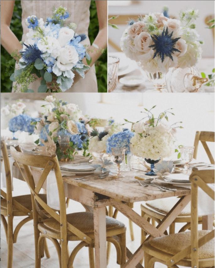 Centros de mesa para boda en color azul. Fotografía Christa Elyce Photography en Style Me Pretty