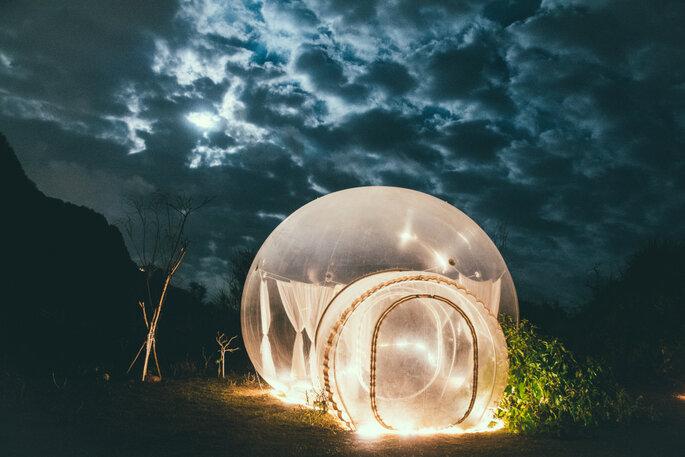 Bubblehotel bei nacht