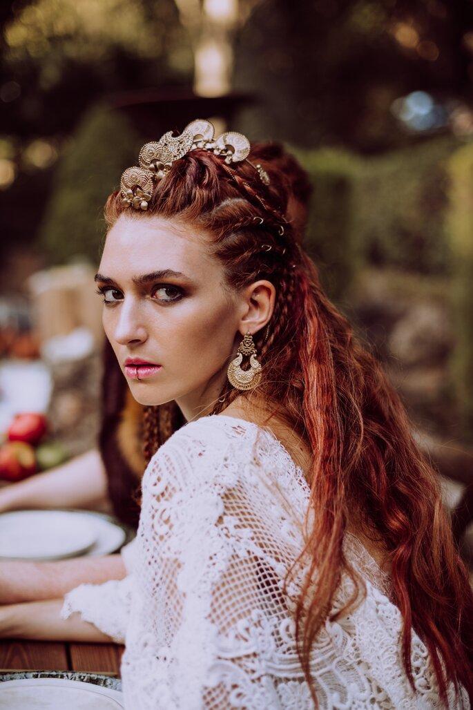 penteado de casamento medieval