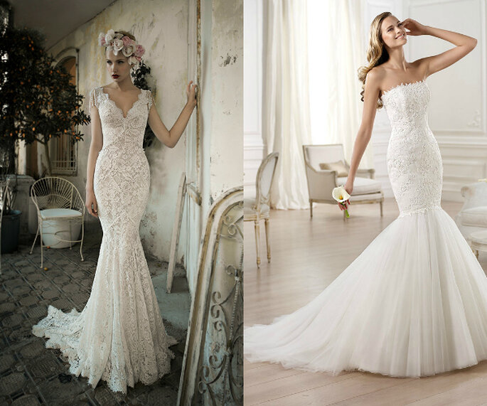 Faldas amplias y siluetas ceñidas en los hermosos vestidos de novia corte sirena - Fotos de Lili Hod y Elie Saab para Pronovias