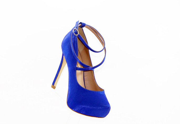 sandália de noiva azul
