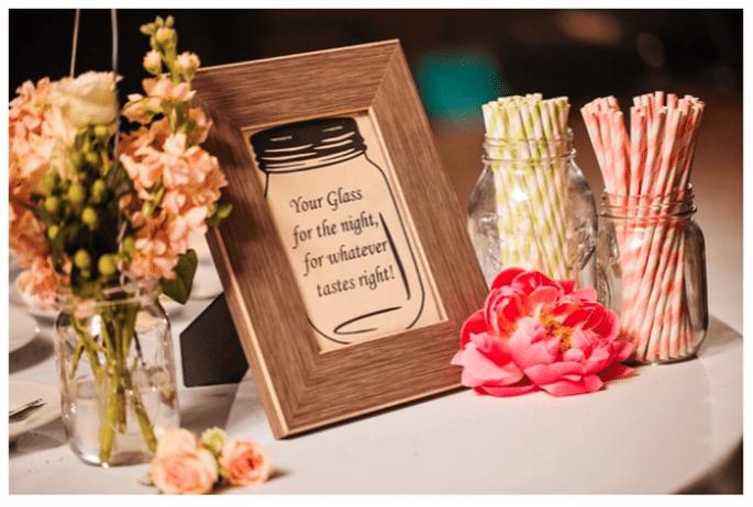 Decoración de boda con tarros de cristal - Foto Macon Photography