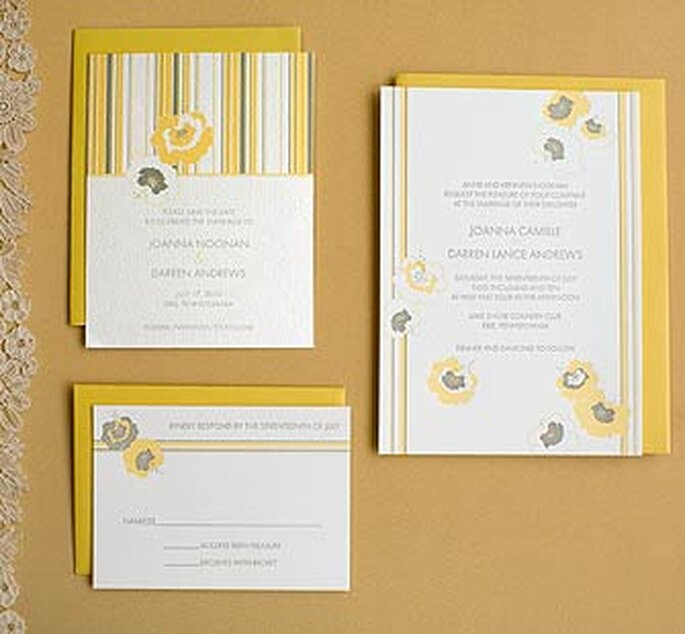 Hello Lucky Letterpress Invitations in Curry and Gravel