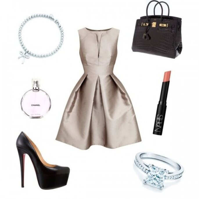 Look para la cena de compromiso - Fotos: vestido de Armani, zapatos de Christian Louboutin, anillo y pulsera de Tiffany & Co., bolsa Birkin de Hermés, perfume de Chanel y lipstick en color nude de Nars- Collage hecho por Fashionabilia