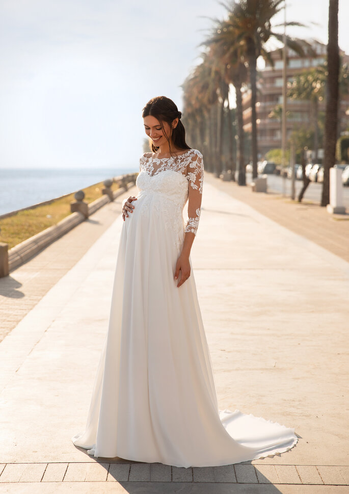 vestido de noiva coleção cápsula maternidade da Pronovias