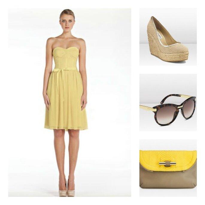 328be5546f25 Salvare Colori del sole e della sabbia abito Monique Lhuillier e accessori  Jimmy Choo. Foto: