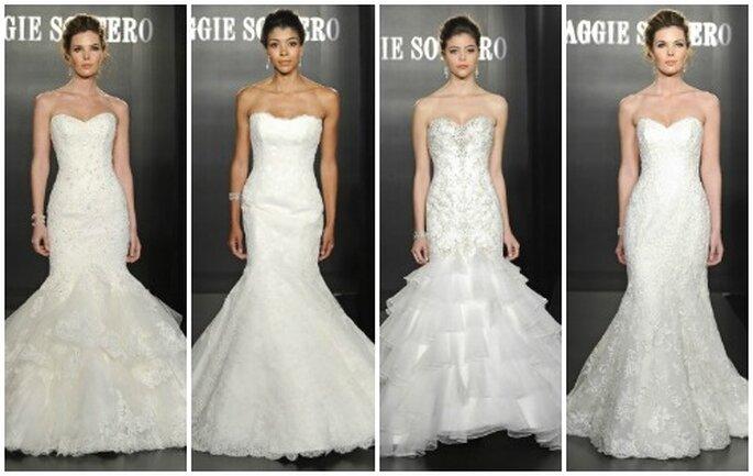Alcuni modelli a sirena proposti in questa Collezione 2013 di Maggie Sottero. Sono il massimo della femminilità per la sposa sensuale! Foto: www.maggiesottero.com