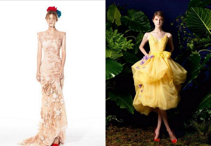 Dos vestidos con apliques florales de Yolan Cris 2014. Fotos: www.yolancris.es