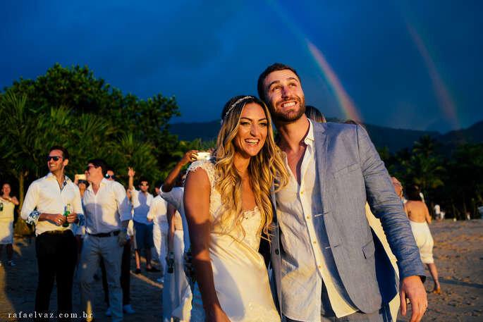 casamento na chuva arco-íris