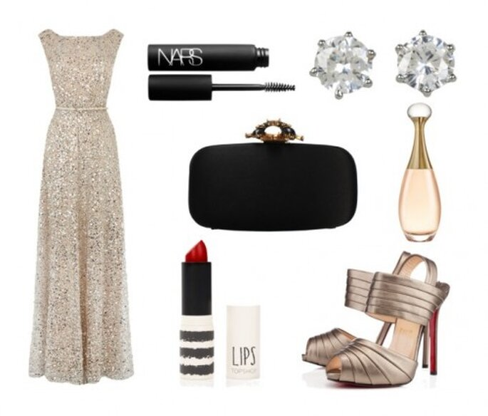 Look inspirado en el glamour de un casino - Fotos: vestido de Coast, zapatos de Christian Louboutin, clutch de Oscar de la Renta, perfume de Dior, rimel de NARS, lipstick de TopShop y aretes de Juicy Couture