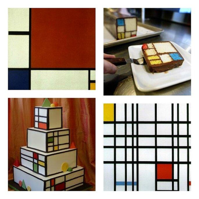 Desserts de mariage inspirés des oeuvres de Piet Mondrian