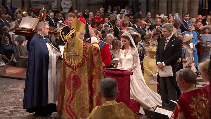 Kate and William pronunciano il loro SI l'Arcivescovo di Canterbury, Rowan Williams