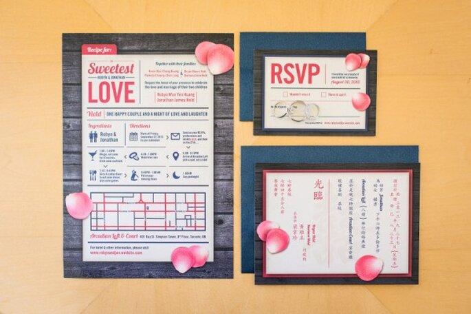 Invitación de boda súper divertida en color rosa - Foto Rhythm Photography