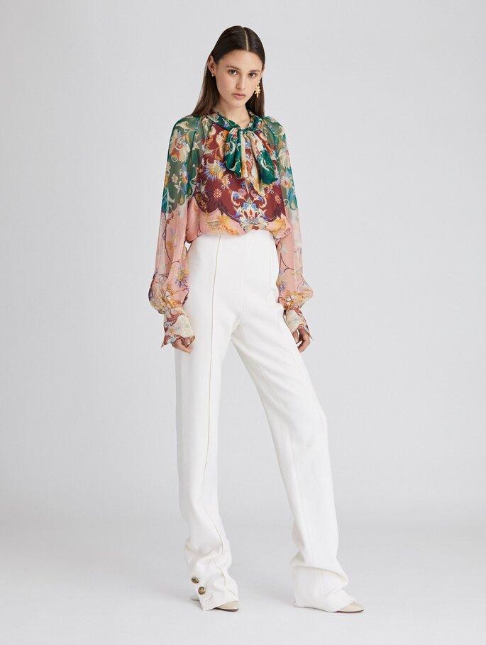 Pantalón de corte recto blanco