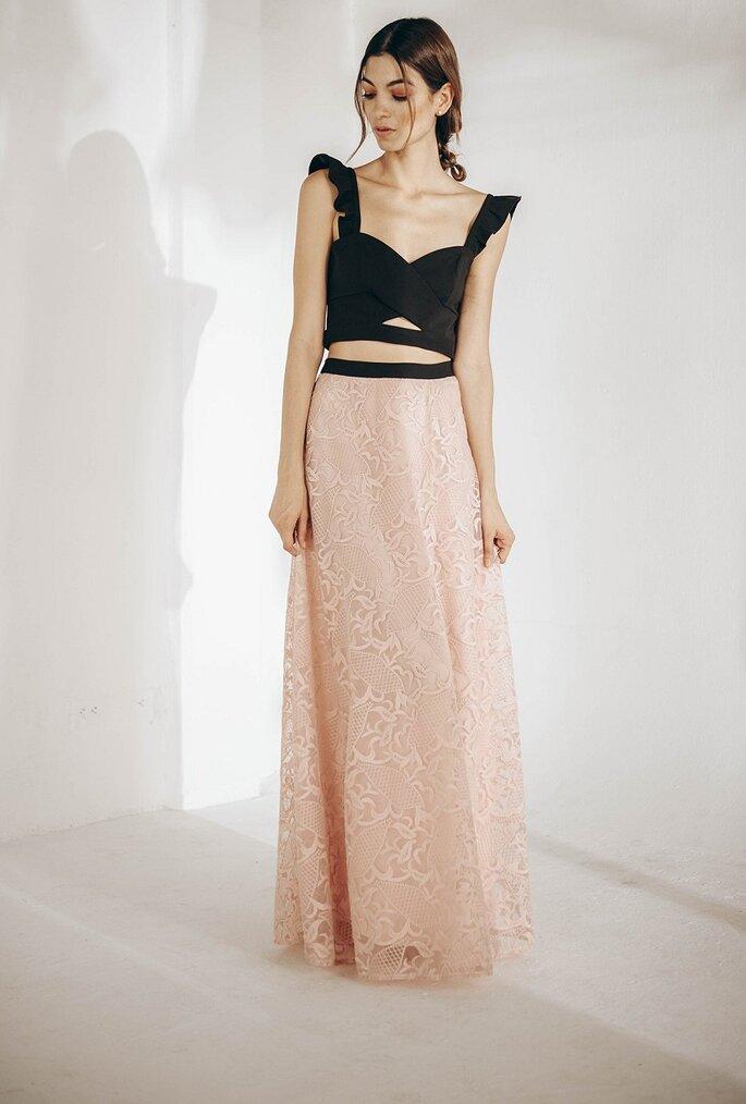 Vestido cut out bicolor