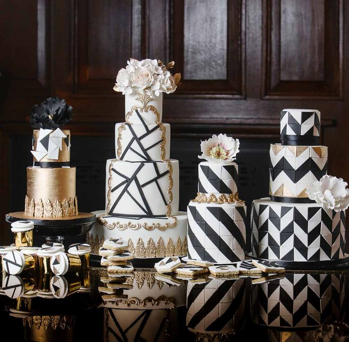 bolo casamento geométrico