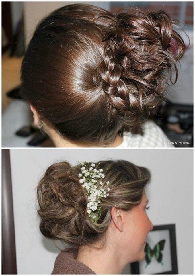 Trenzas y recogidos para novia, una de las tendencias que se mantiene en 2013. Fotos: Vidiva Styling