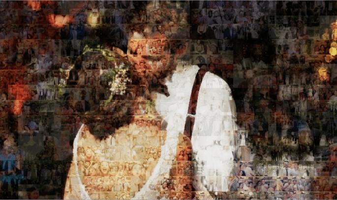 Assemblés, les photos des invités ne forment plus qu'une seule et même photo, celle des mariés