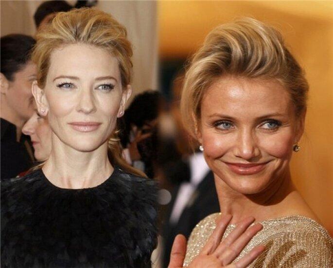 Cate Blanchett y Cameron Diaz apostaron por un recogido con Tupé. Foto Gala del MET