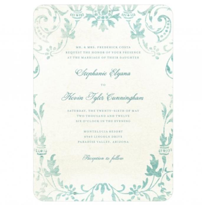 Invitación de boda estilo vintage adornado con inspiración en la naturaleza y colores verde y azul - Foto Wedding Paper Divas