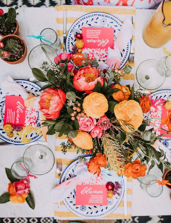 Eclectic Wedding Dekoration bunte Tischdekoration