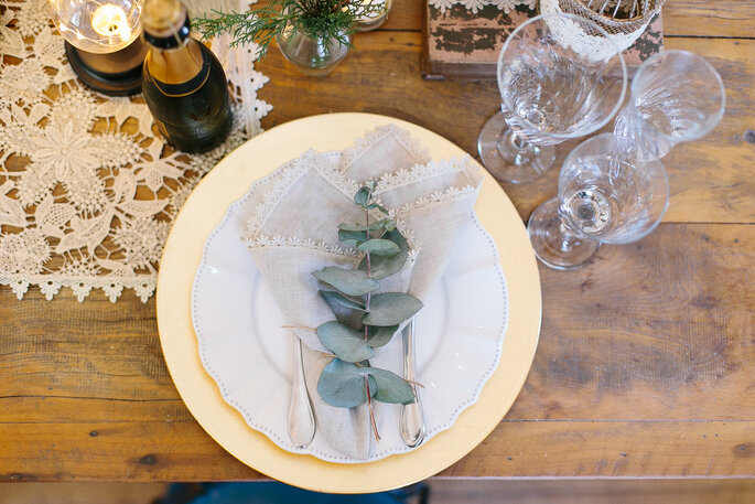 Decoração da mesa dos convidados