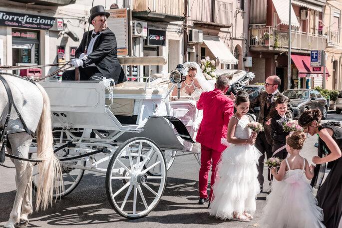 Calèche avec un cheval blanc et les mariés