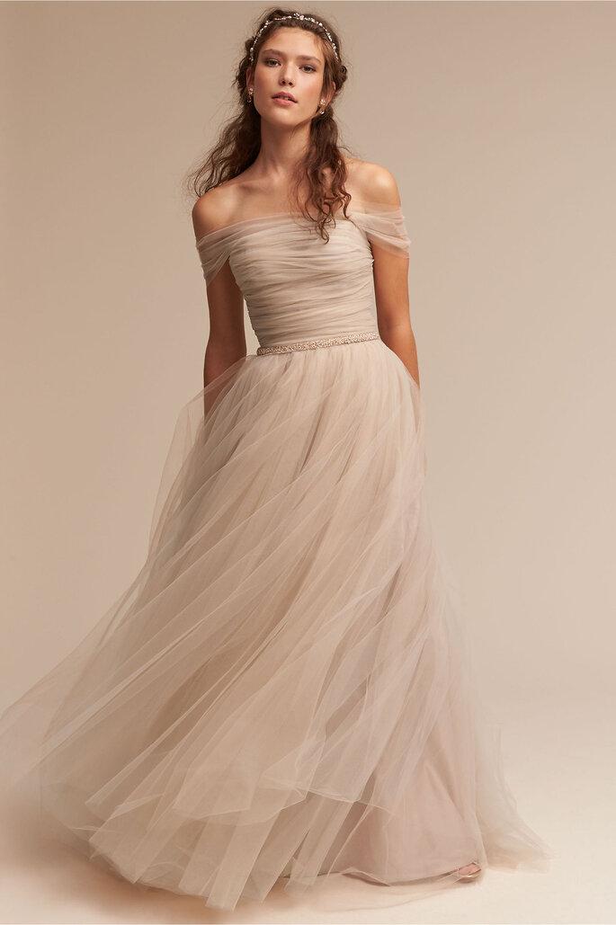Vestido Nude Tule Ramona gown, Bhldn