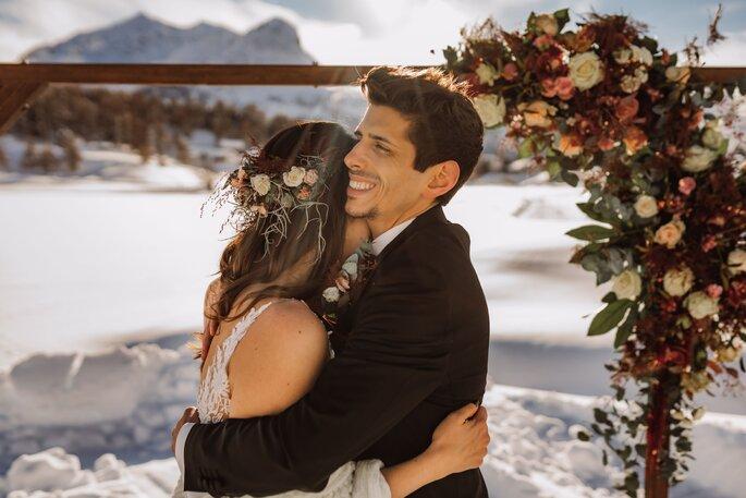 Brautpaar Winterhochzeit elopement