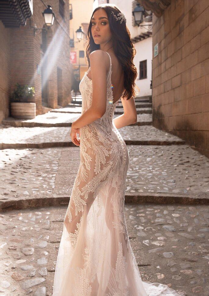 Vestido de novia sexy corte sirena con transparencias