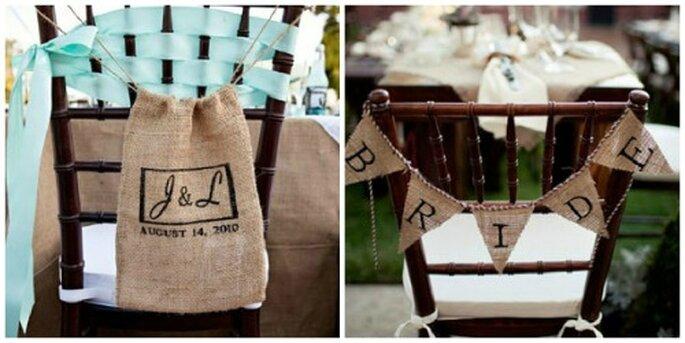 Bolsas de fique y trozos de costal para decorar las sillas. Fotos: Lauren Brooks Photography - Style me pretty