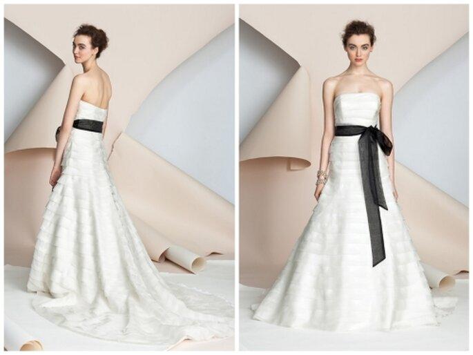 Vestido de novia corte princesa strapless con cinturón negro de Alyne Bridal Primavera 2012