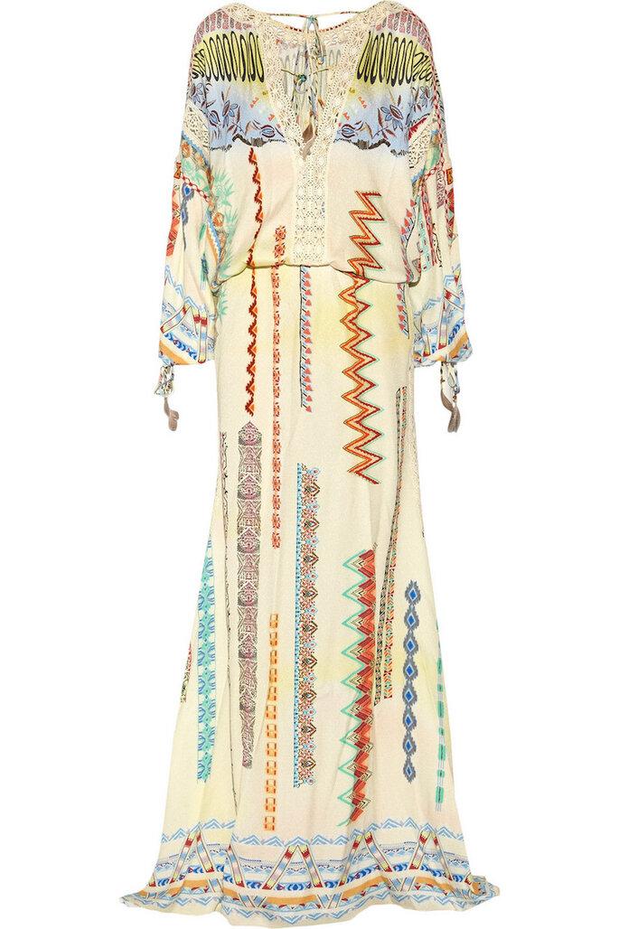 Vestidos de fiesta con estampados coloridos inspirados en los años 70 - Etro en Net a Porter