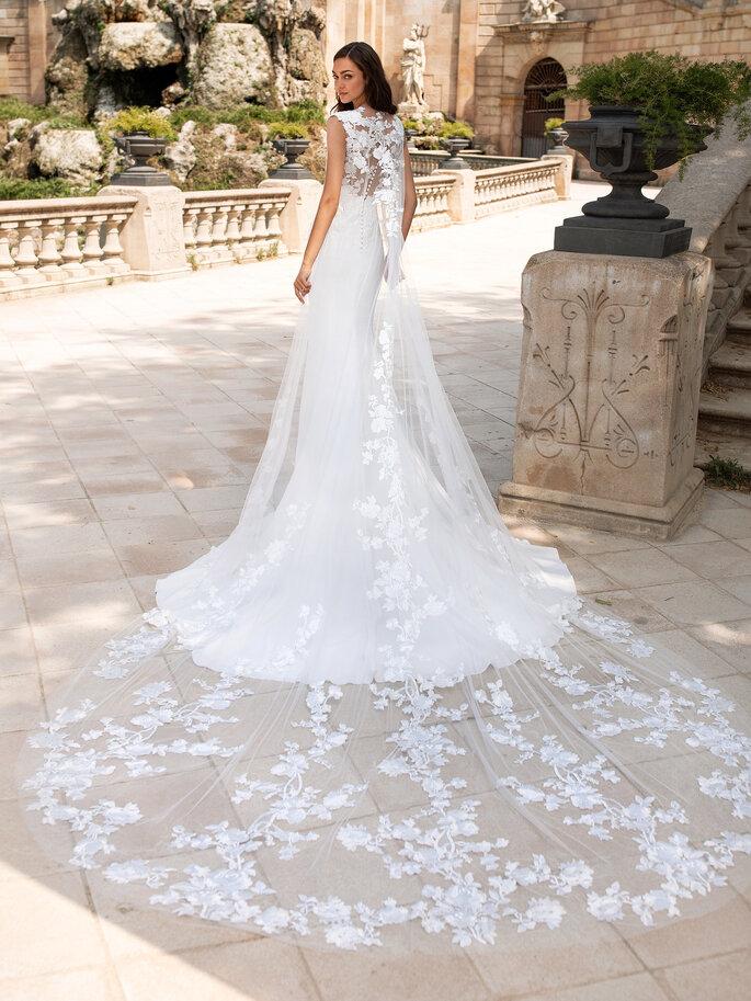 vestido de novia cola watteau