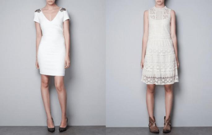 Vestidos para invitados de boda en colores blanco y nude con diseños simples y vanguardistas - Foto Zara