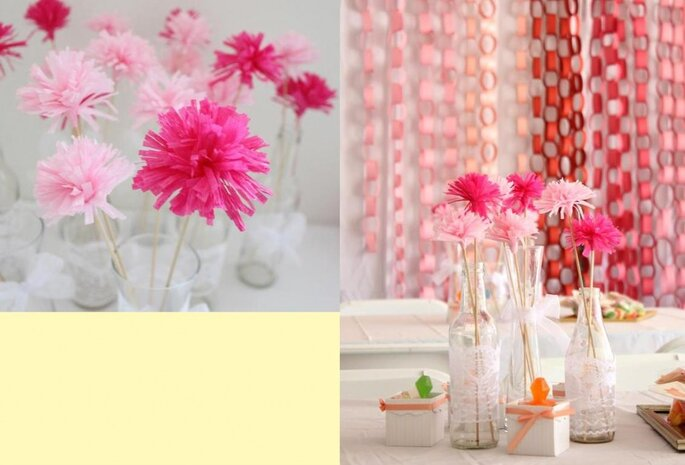 Cómo agregar flores de papel o tela a la decoración de tu boda