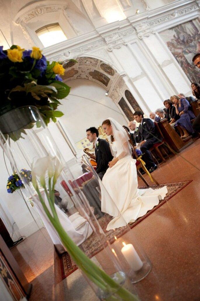Un momento della cerimonia nuziale di Alessandra e Alessandro. Foto di Francesca Pisoni