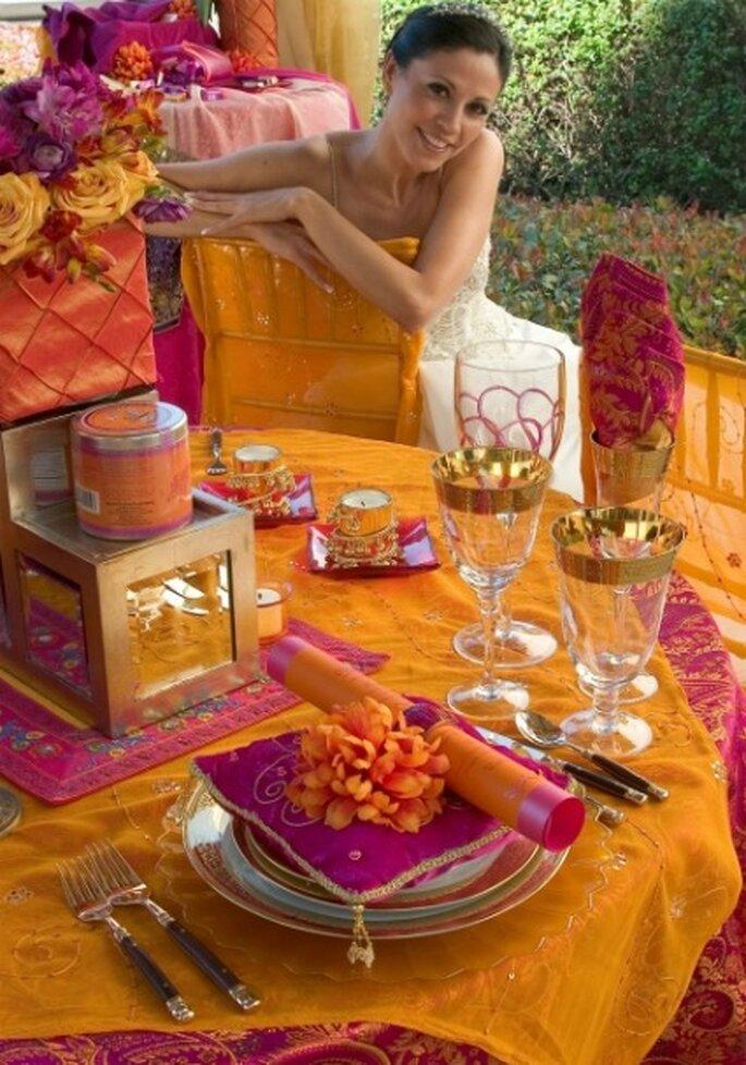 Colores brillantes para una boda que os transportará a Marrakech