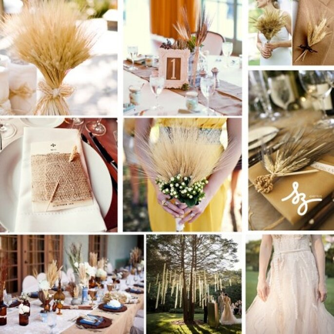 Collage de inspiración para decorar tu boda con espigas de trigo - Foto oncewed.com. w-weddingflowers.com, intimateweddings.com